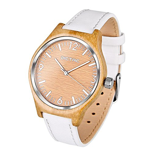 - 51 2BMNbpKn4L - Dictac Wristwatch Lady Bamboo Case and White Leather Strap Business Casual Classic Watch