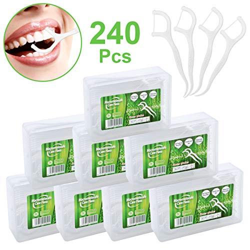 240 pz. Filo Interdentale in UHMWPE con Scatola di Conservazione, Igienico e Portatile, Cura Dentistica per Tutta Famiglia