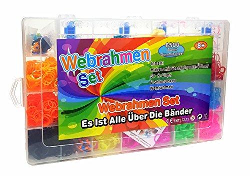 TOP 6500 Teile XXL Loom Starter Kit Set Bänder Bandz Gummibänder mit Charms Anhänger Webrahmen Haken S-Clips NEU