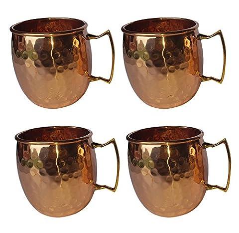 100% cuivre martelé Chope/Mug/Set de 4Pièces avec poignée en