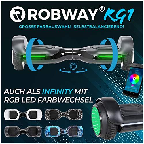 Robway Rg1 Hoverboard - Das Original - Self e Balance - 2 x 350 Watt Motoren - Led 16 Mio Farben - Bluetooth - App - Lithium Akku (Schwarz)