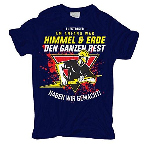 Männer und Herren T-Shirt Elektriker - Am Anfang war Himmel & Erde körperbetont dunkelblau