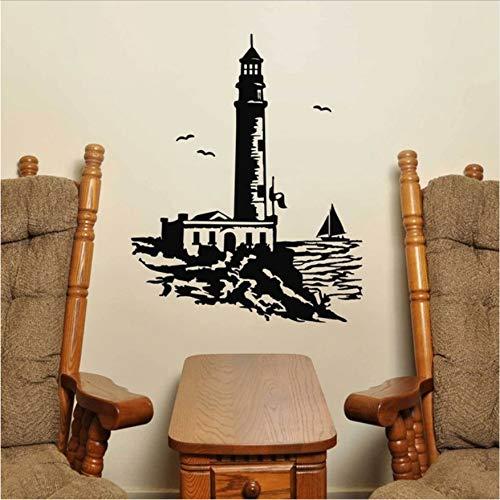WENHAODJ Großer Leuchtturm Wandaufkleber Leuchtturm Wandtattoo Mediterraner Stil Wohnaccessoires Wandaufkleber 46x58cm