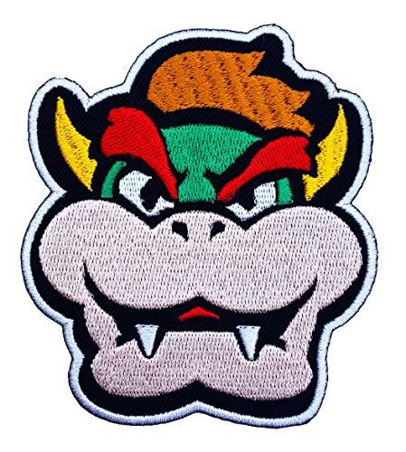 Kostüm Super Irland Mario - Bowser Gesicht Patch gestickt Eisen auf Abzeichen Aufnäher Kostüm Cosplay Mario Kart/SNES/Mario World/Super Mario Brothers/Mario Allstars
