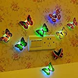 Hosaire 5Pcs colores cambiante LED parpadea mariposa noche luz luces decorativas 3D pegatinas Casa Decor