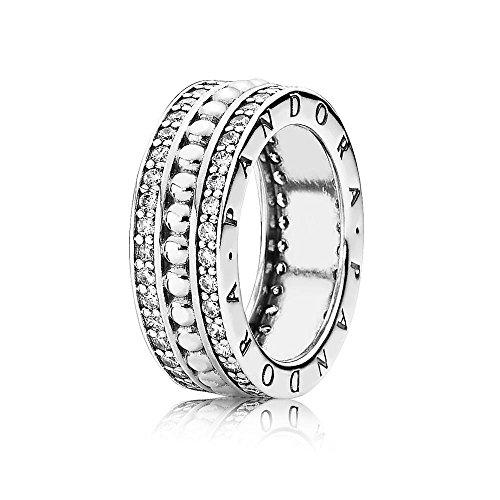 Pandora anello da donna, in argento 925 con zirconi bianchi, motivo: logo - 190952cz, argento, 10, cod. 190962cz-50