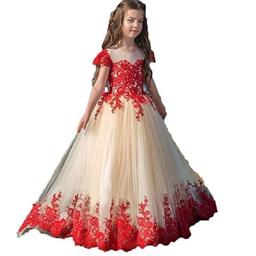 s Blumenmädchenkleider für Hochzeiten Tüll Kinder Kommunion Kleid Abendkleid (as pic, Alter 4) (Erste Kommunion Kleider Puffy)