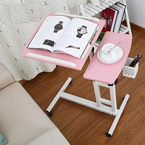 Kaichen Kommen Sie in 5-15 Tagen an!Faltbarer Computertisch Verstellbarer und tragbarer Laptop-Schreibtisch Betttisch mit Tastatur Wohnzimmer klein (Farbe : Pink) -