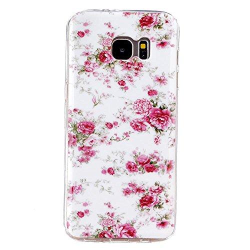 DETUOSI® Schutzhülle für Galaxy S7 Edge - Silikon Etui Schutzhülle Silikonhülle für Samsung Galaxy S7 Edge / SM-G935F Tasche Handyhülle TPU Case Cover (Rosa Blumen)