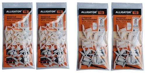 Hohlraumdübel 40 TB und 24 TD TOGGLER Alligator für 9-26 mm Platten