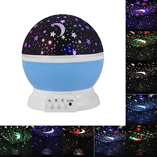 360 Proiettore di Luce Gradi di Rotazione Star Lampada Stelle Luna Novelty 3 Modalità di Luce Powered by Batteria o Cavo USB, Ideale per bambini,cameretta neonato,decorazioni ((Blu)