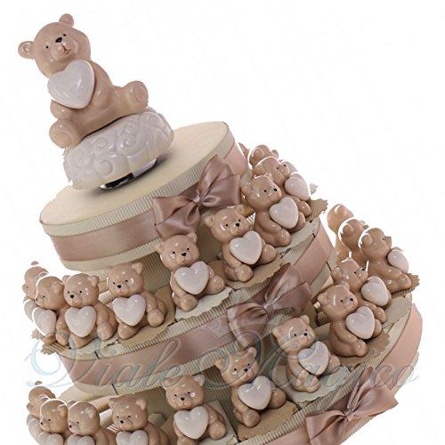 Torta bomboniere statuina orsetto porcellana con cuore 180237 (torta da 20 pezzi)