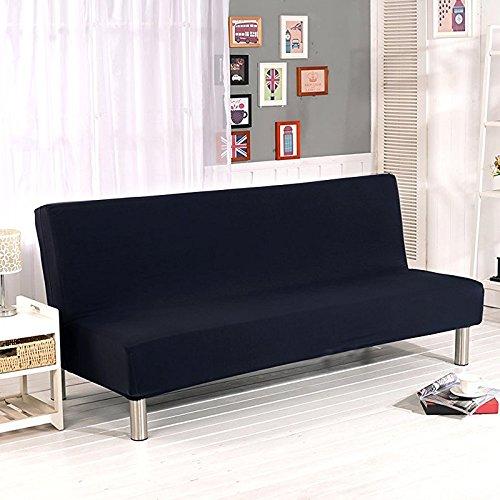 Surenhap Sofa ohne Armstützen, 3-Sitzer, elastische zusammenklappbare Couch / Sofa, mit Stretchbezug, Sofabett Schwarz