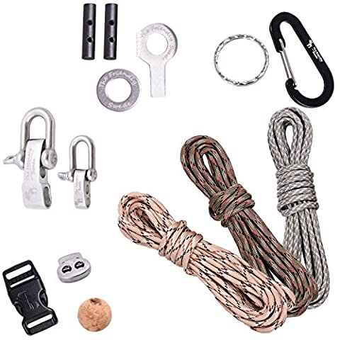 The Friendly Swede DIY Paracord Kit with 3 x Cords + 7 x Accessories to Make your Own Bracelets, Key-chains and Gadgets (Basic Instructions Included) - LIFETIME WARRANTY (Army Green Camo/Desert Camo/Digital Camo)