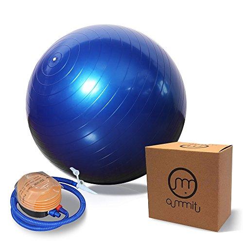 Fitness Ball 65cm mit Pumpe,Oummit Gymnastikball 500kg Maximalbelastbarkeit mit Anti-Burst-Technologie der Beste für Bauchmuskeln Stabilität & Tonus-für Cross Fitness-Yoga & Pilates (Blau)