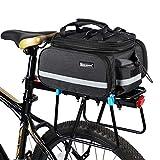 ICOCOPRO Bike Siège arrière Sac de Trunk, Multi Fonction Quick Release Motif avec Extensible sacoches de vélo de Transport de Sac avec Protection de Pluie (3Couleur), Noir