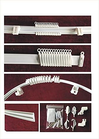Rail de Rideaux Flexible PVC - Finition Blanc - Set Complet - Longueur 120 cm