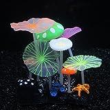 SLOME Aquarium-Dekoration, leuchtende Pilze, aus Silikon, umweltfreundlich, für Süßwasser, Salzwasser, Aquarium, Betta, Fische