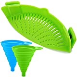 Colador de silicona Snap con 2 embudos plegables, FineGood Colgante a prueba de calor con clip de manos libres Tazón de la Olla Pan - Verde
