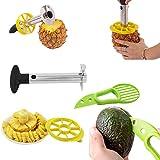 2-in-1 Pela ananas professionale, snocciolatore e affettatrice, acciaio inossidabile - 3 in 1 Avocado slicer