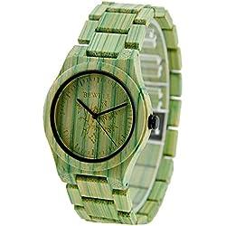 FunkyTop Frauen Wooden Watch 100% handgefertigten natürlichen Bambus Quartz Analog Uhren Green