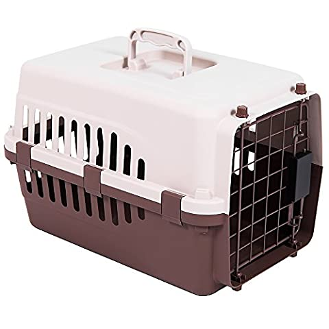 Home Discount Pet Carrier, Animal Cage Cat Dog Transport Box Spring Lock Door, White & Brown, Large
