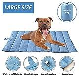 furrybaby Tragbare Wasserdichte Hundematte für Hundekäfig/Bett, strapazierfähige Hundedecke, Blau/Orange