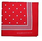 Tobeni 000803 Nickituch Kopftuch Bandana mit Punkte für Damen und Herren Halstuch aus 100% Baumwolle Farbe Rot Grösse 55 cm x 55 cm