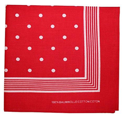 (Tobeni 000803 Nickituch Kopftuch Bandana mit Punkte für Damen und Herren Halstuch aus 100% Baumwolle Farbe Rot Grösse 55 cm x 55 cm)