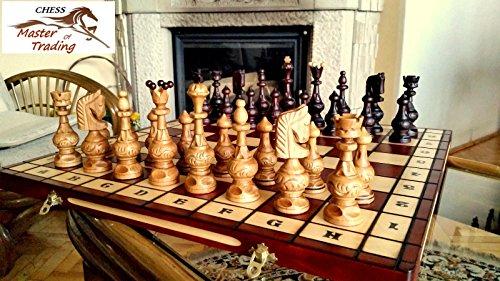 Master of Chess Luxus '' Salvator '' Kirschholz Schachspiel 55x55cm! Superb Schachbrett & Handgeschnitzte Schachfiguren