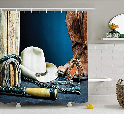 JIEKEIO Western Decor Shower Curtain, Equestrian Backdrop with Antique Horseshoe Hat Cowboy Texas Style, Fabric Bathroom Decor Set with Hooks, 60 * 72inchs Long, Blue Brown and Beige