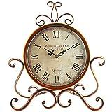 SOLEDI Standuhr Tischuhr Vintage Retro Eisen Uhr römischen Ziffern Uhr für Home Office Küche Bar Dekoration