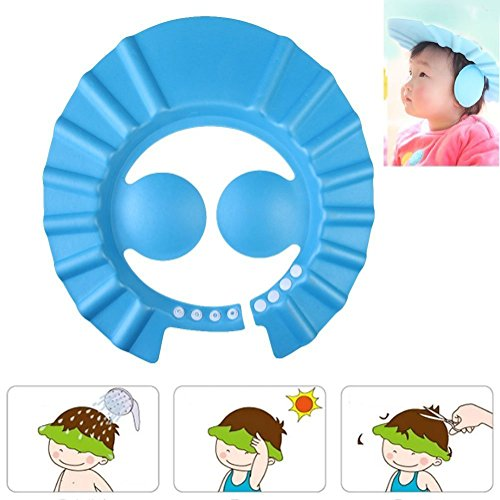 OZOY Baby Infant Kids Children Toddler Shampoo Bath Shower Cap Wash Hair Ear Shield,Blue