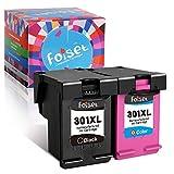 Foiset Remanufacturado Cartucho de Tinta 301XL Reemplazo para HP 301XL 301 XL Compatible con HP Deskjet 1510 2540 3050 3050A Officejet 2620 4630 Envy 4500 4502 5530 Impresora (1 Negro, 1 Tri-Color)
