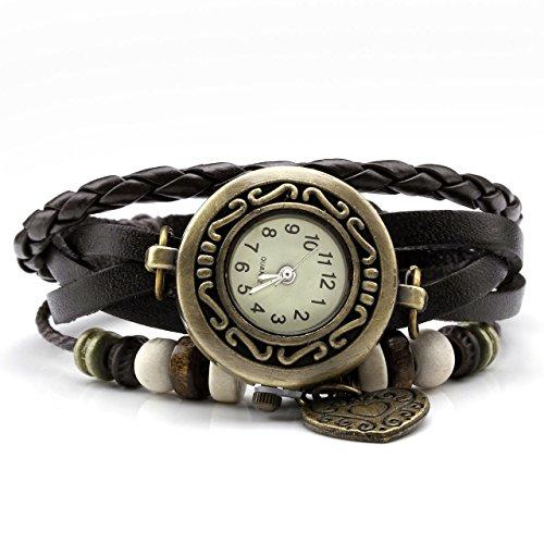 JSDDE Uhren Vintage Wickelarmband Damen Armbanduhr Lederarmband Bronze Herz Anhänger Holzperlen Analog Quarz Uhr, Dunkelbraun (Anhänger Uhren)