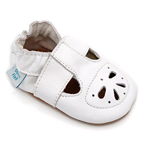 Chaussures bébé souples en cuir pour les filles avec des semelles en daim - Dotty Fish - Blanc Mary-Jane Sandales Conception - 0-6 Mois à 18-24 Mois