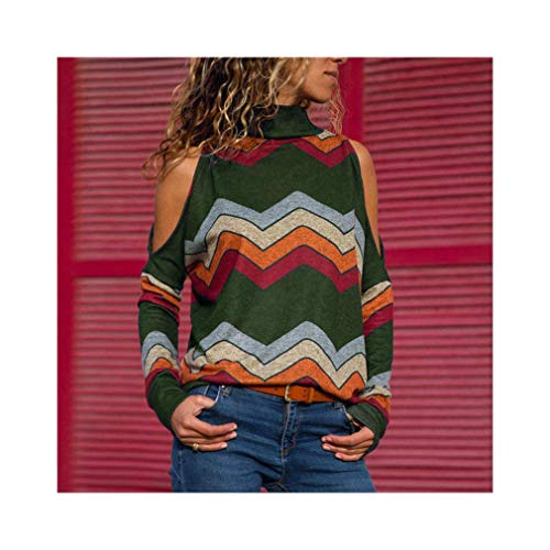Women Blouses Sexy Cold Shoulder Tops Turtleneck Knitted Top Jumper Pullover Print Long Sleeve Shirt -