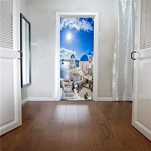 XCGZ Türaufkleber Mediterrane Landschaft Tür Aufkleber Renoviert Dekorative Tür Aufkleber Tür Dekoration wasserdichte Aufkleber