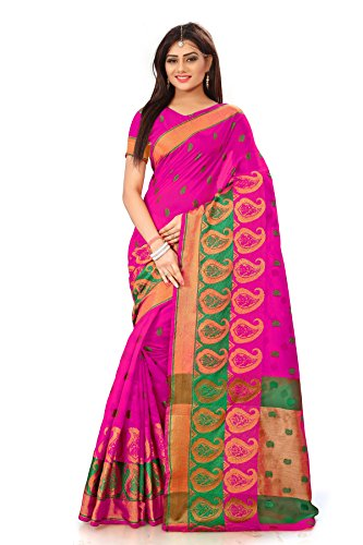 Royal Export Women's Pink Cotton Silk Saree