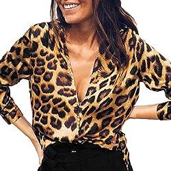 ❤️ Blusa de Mujer con Cuello en V Estampado Leopardo, Camisetas de Moda otoño Casual Tops Sueltos Blusa de la túnica Mujeres Tops Absolute