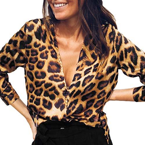 (Bluelucon Bluse Damen Leoparden-Print Langarmshirt Hemd Frauen Lose V-Ausschnitt Langarm Top Oberteil)