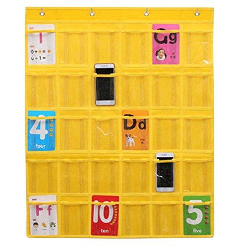 Fittoway Hängeorganizer, Vliesstoff, 30 Taschen, für Klassenzimmer, für Handys, mit 4 Haken, für Wand oder Tür gelb
