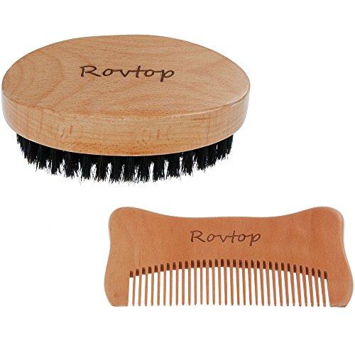 Rovtop Bartbürste und Bartkamm Set für Bart-Styling Bart-Pflege Herrenbart und Schnurrbart gut Geschenk zur Mann