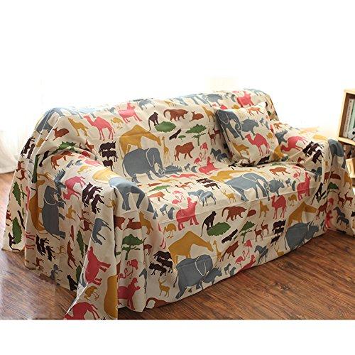 Hm&dx cotone copertura divano slipcover,1-pezzo reticolo degli animali copridivano antiscivolo antimacchia mobili coperture per 1 2 3 4 sedile-a 185x350cm(73x138in)