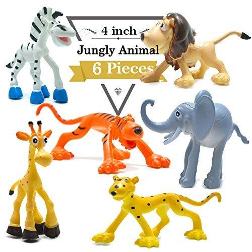 4 pulgadas figuras de dinosaurio de dibujos animados con animales de bosque conjunto, 6 piezas de animales de plástico salvaje y Dino partido favores juguetes juego conjunto BigNoseDeer (Animal Salvaje)