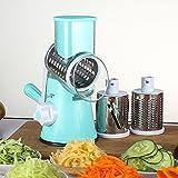 Käsereibe Gemüsehobel Zerkleinerer – Mtong Multi Manueller Gemüse-Spiralschneider mit 3 zylindrischen Edelstahlklingen sicher schnell Stabilität Tisch-Saugnschneider