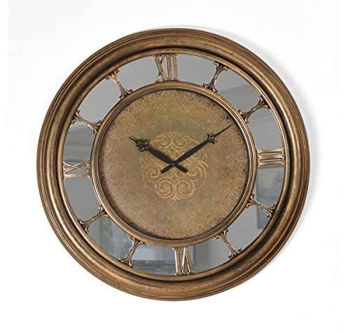 @Home Antique Plastic Wall Clock (56.01 cm x 56.01 cm x 6 cm, Antique Gold)