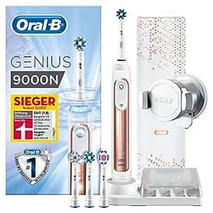 Oral-B Genius 9000N Elektrische Zahnbürste, mit Positionserkennungstechnologie, 4 Aufsteckbürsten und Premium Lade-Reise-Etui, rose gold