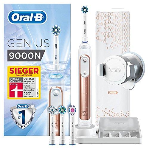 Oral-B Genius 9000N Elektrische Zahnbürste, mit intelligenter Positionserkennung, 4 Aufsteckbürsten und Premium Lade-Reise-Etui, rose gold