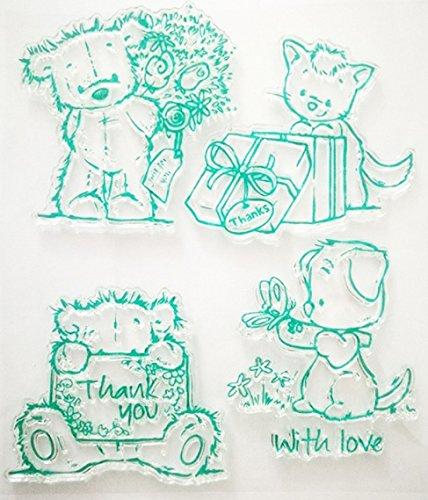 Teddybär-stempel (Stempel Set Clear Stamp transparent in verschiedenen Motiven (Teddybär mit Liebe, Danke))